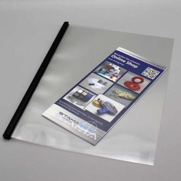 Softcover, transparent PVC Vorder- u. Rückseite (lay-flat)