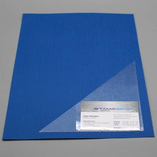 Dreiecktaschen 170 x 170 mm, mit aufgeschweißter Visitenkartentasche, für die rechte Seite, selbstklebend, PP-Folie 120 µm, transparent