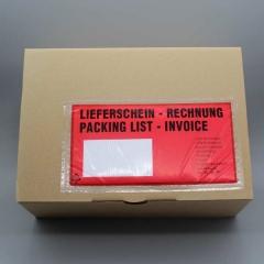 Begleitpapiertaschen DIN-lang, Lieferschein/Rechnung, rot