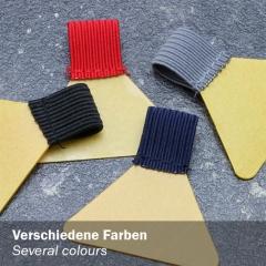 Stifthalter, mit Schlaufe aus Flachgummi, Klebefläche trapezförmig, selbstklebend, in verschiedenen Farben: