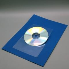 CD/DVD-Tasche mit Klappe zum Einstecken, PP glasklar selbstklebend,126x126mm,
